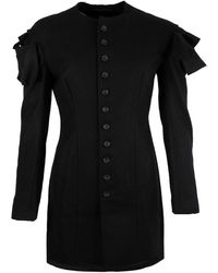 Yohji Yamamoto Wool Collarless Slim Jacket - Black