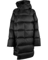 Rick Owens Down Long Sleeved Hooded Liner Coat - Black