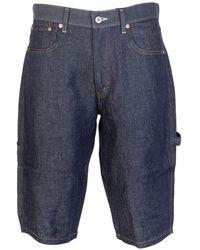 Junya Watanabe Panel Pocket Linen Shorts - Blue