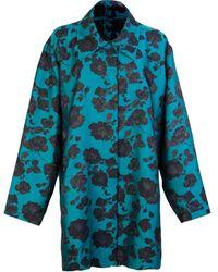 Marques'Almeida Brocade Floral Draped Coat - Blue