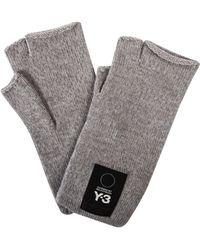 Y-3 - Fingerless Logo Gloves Grey - Lyst