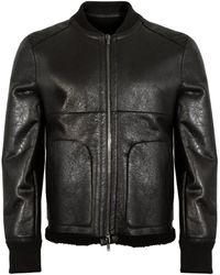 Salvatore Santoro Reversible Leather Bomber Jacket - Black