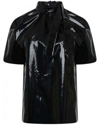 MSGM Coated Neck Tie Blouse - Black