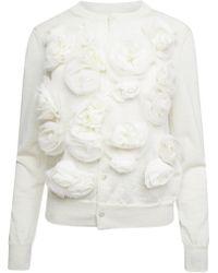 Comme des Garçons Wool Knit Flowers Cardigan - White
