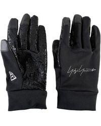 Yohji Yamamoto Embroidered Logo Stretch Gloves - Black