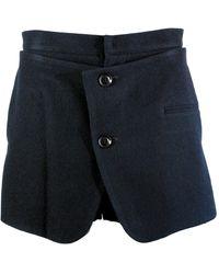 Y's Yohji Yamamoto Wool Button Front Shorts Navy - Blue