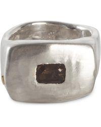 Rosa Maria Lulu Silver Signet Ring With Smoky Quartz - Metallic