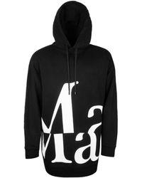 Maison Margiela Oversized Logo Print Pullover Hoodie - Black