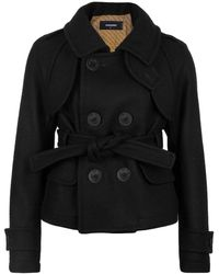 DSquared² Cropped Wool Pea Coat - Black