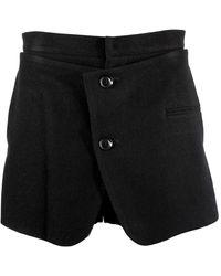 Y's Yohji Yamamoto Wool Button Front Shorts Black