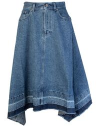 JW Anderson Asymmetric Raw Hem Denim Skirt - Blue