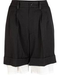 Y's Yohji Yamamoto Wool Pleated Layered Shorts - Black