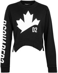 DSquared² Maple Leaf Logo Cropped Sweatshirt - Black
