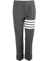 Thom Browne Four-bar Tech Pique Pants Grey - Gray