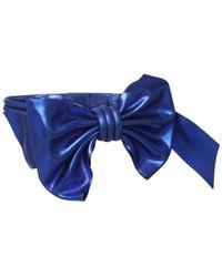 Maison Margiela Oversized Bow Metallic Leather Waist Belt In Blue