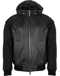 DSquared² Contrast Sleeve Hooded Leather Jacket - Black