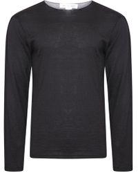 Comme des Garçons - Two Tone Wool Round Neck Jumper Black/grey - Lyst