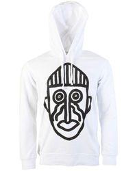 Comme des Garçons Mask Graphic Hoodie White