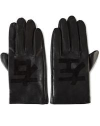 Yohji Yamamoto Leather Gloves With Suede Emblem Detail - Black