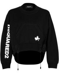 DSquared² Logo Print Drawstring Hem Sweatshirt - Black