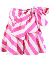 MSGM Striped Bow Tie Pink Skirt