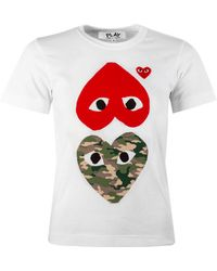 COMME DES GARÇONS PLAY T247 Camouflage Red Heart T-shirt White