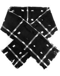 Yohji Yamamoto Plaid Wool Scarf - Black