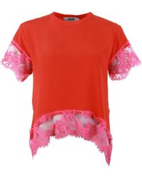 MSGM Lace Fringe Red Blouse