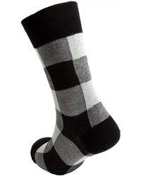 Yohji Yamamoto Check Socks In - White