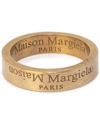 Maison Margiela Brushed Gold-tone Slim Logo Ring - Metallic
