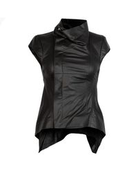 Rick Owens Naska Sleeveless Leather Jacket - Black