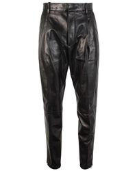 DSquared² Darted Leather Trousers - Black