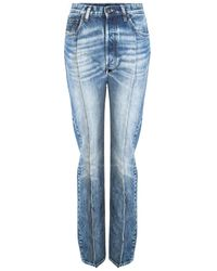 Maison Margiela Seam Detail High Rise Blue Jeans