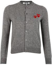 COMME DES GARÇONS PLAY N071 Double Heart Cardigan - Grey