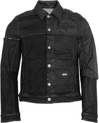 Rick Owens Drkshdw Contrast Panel Denim Worker Jacket - Black