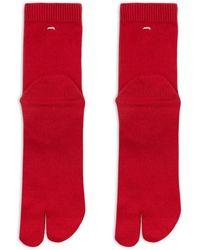 Maison Margiela Cotton Tabi Bootleg Socks Red