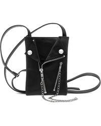 Yohji Yamamoto Zip Detail Leather Pouch Bag - Black