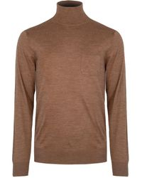 DSquared² Fine Knit Turtleneck Sweater Camel - Brown