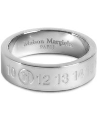 Maison Margiela Engraved Numbers Logo Silver Ring - Metallic