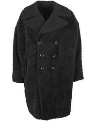 Yohji Yamamoto Double Breasted Textured Coat - Black