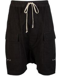 Rick Owens Larry Drawstring Cargo Pods Shorts Black