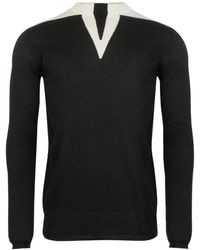Rick Owens Long Sleeve Round Neck Wool Sweater - Black