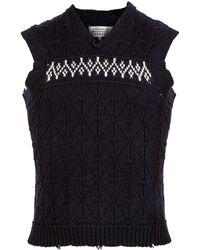 Maison Margiela Jacquard Wool Sweater Vest - White