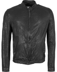 Salvatore Santoro Snake Skin Effect Round Neck Jacket - Black
