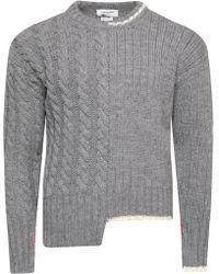 Thom Browne - Asymmetric Rwb Detail Wool Pullover Light Grey - Lyst