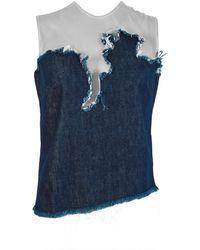 Marques'Almeida Denim Top With Tulle Appliqué - Blue