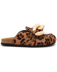JW Anderson Leopard Print Chain Mule Loafers - Brown