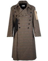 Maison Margiela Double-breasted Wool Check Coat - Brown