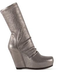Rick Owens Sock Wedge Boots Dark Gold - Multicolour