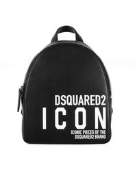 DSquared² Icon Print Small Leather Backpack - Black